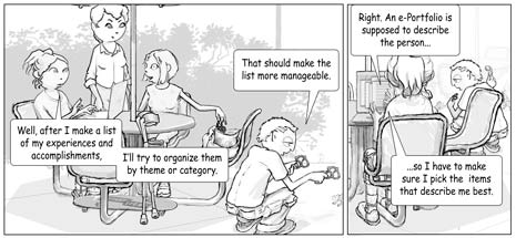 Panels in the iStudy cartoon series.