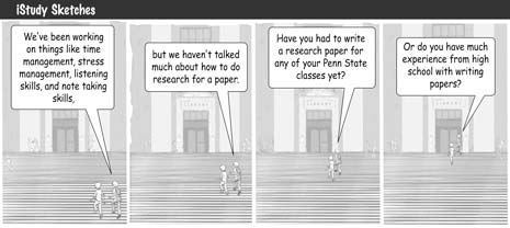 iStudy cartoon strip.