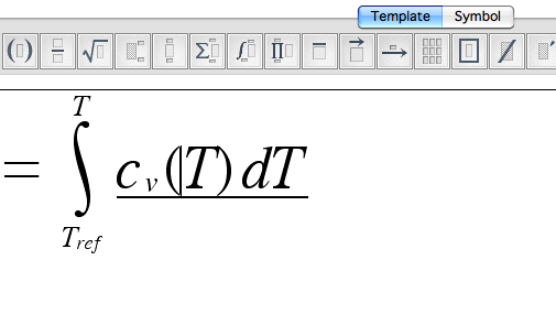 Math Magic Interface. Tool bar includes templates with squares where text can be inserted