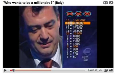 Italian prize list with levels 1-15 on left and values up 10 1 millione euros on right.