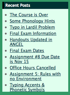 Sample Blog Titles like ' Some Phonology Hints ', 'Typo in Problem ', 'Exam Information ', 'Handouts Updated in ANGEL'