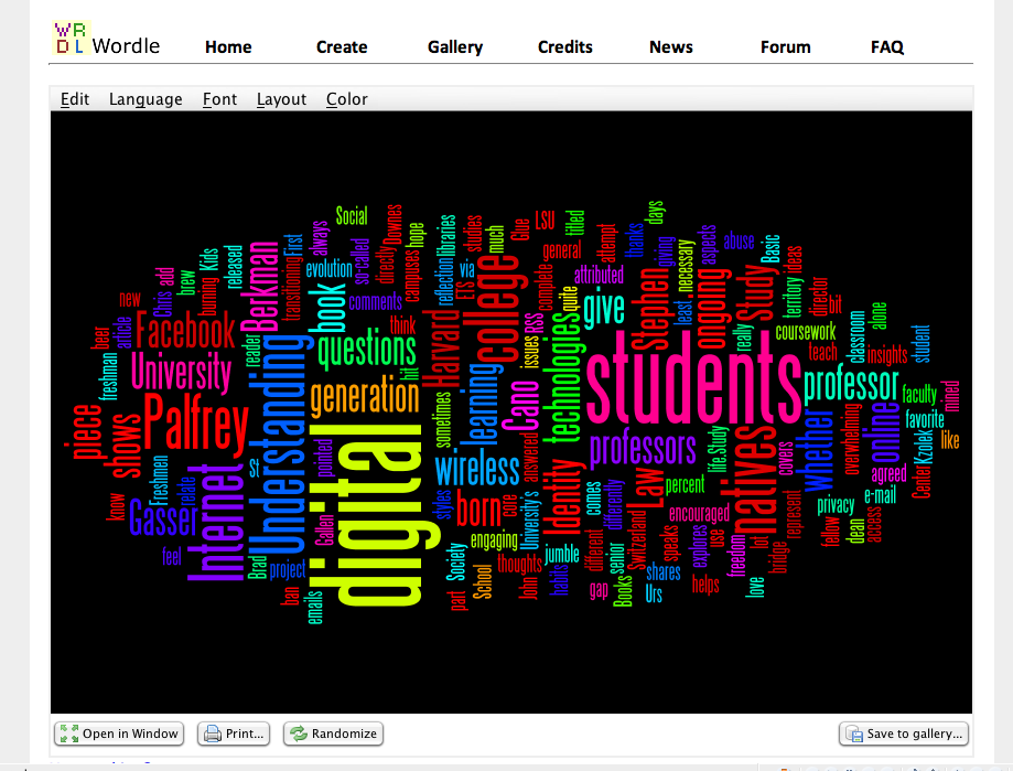ETSWordle.png. Important keywords = digital (6), students (5), understanding, Internet