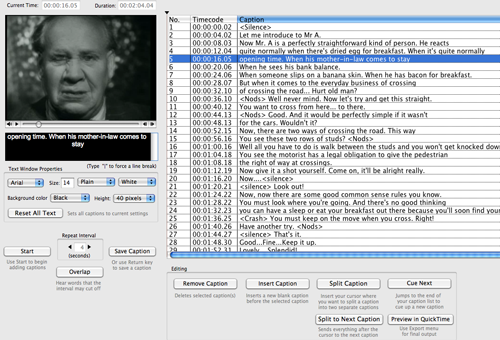 Set of caption lines at right. Frowning man in video on left