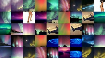 Montage of auroras see description above