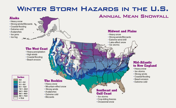 Certificate In Weather Forecasting Blog - Us annual snowfall map