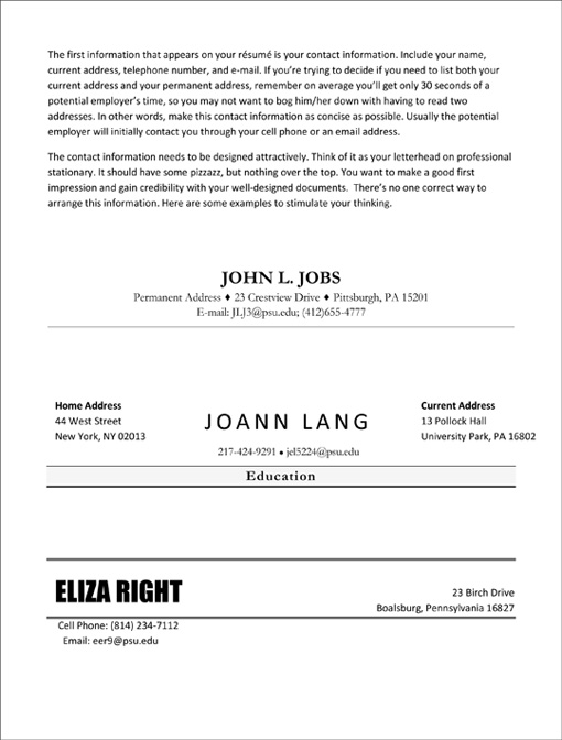 resume contact information examples Idealvistalistco