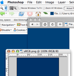 Screen capture showing one color in browser and another in Photoshop.