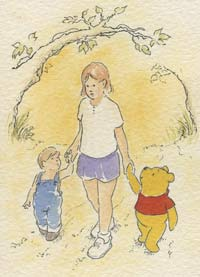 Kids with Pooh.