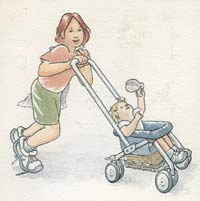 Kids with stroller.