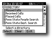 Directories Menu screen