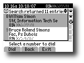 Results page with Dial softkey